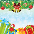 Christmas background with gifts and pine decoration