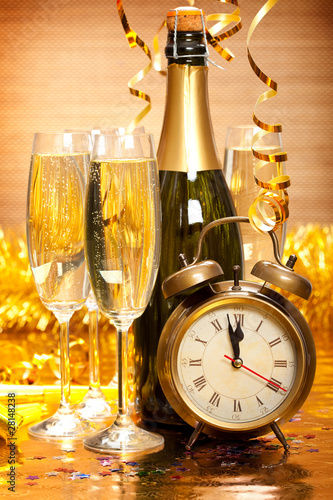 Happy New Year - Champagne and clock Poster