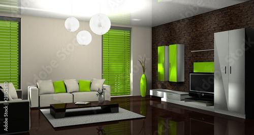 Fototapeta  3d wohnzimmer grün