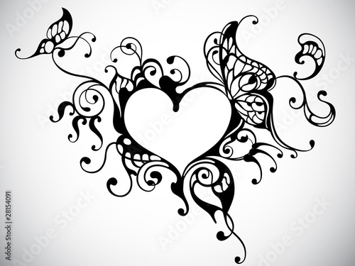 Poster Butterflies in Grunge vector heart frame with butterfly