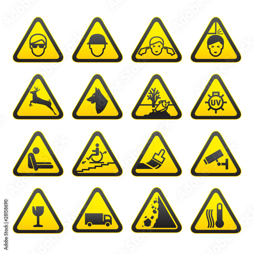 Warning Safety Signs Set Wallpaper Mural