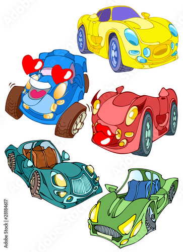 Foto op Canvas Cars Cartoon cars