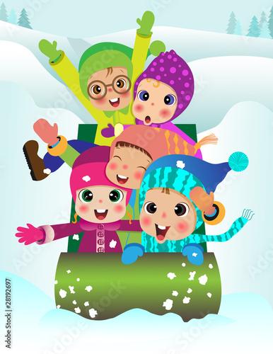 Poster Castle Children sledding