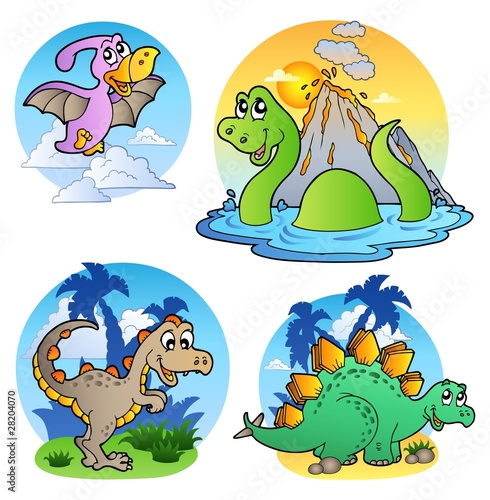 Tuinposter Dinosaurs Various dinosaur images 1