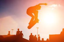 Skateboarder Jump Over Sunny S...