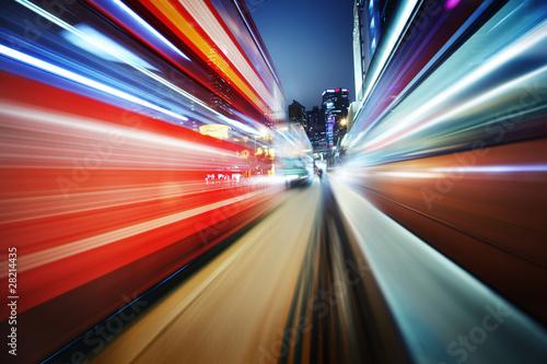Futuristic motion blur on night city background