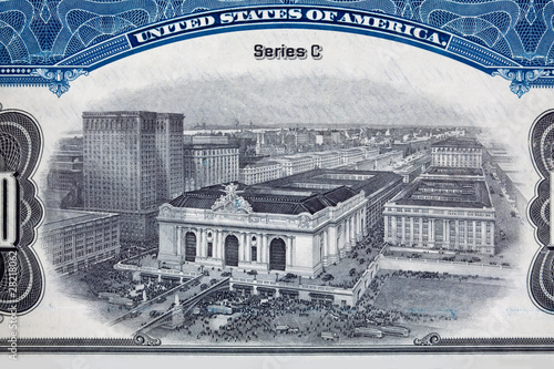 Photo XXXL Engraving Grand Central Station Rail Road Stock Certificate