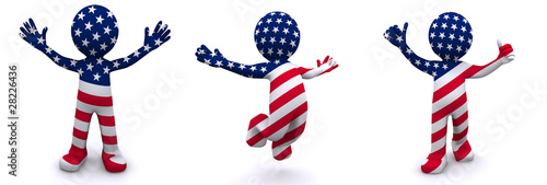 Photo  3d character textured with flag of USA