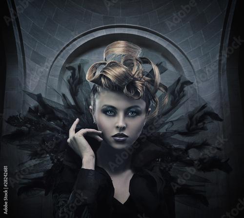 Fotografie, Obraz  Vogue style photo of a gothic woman