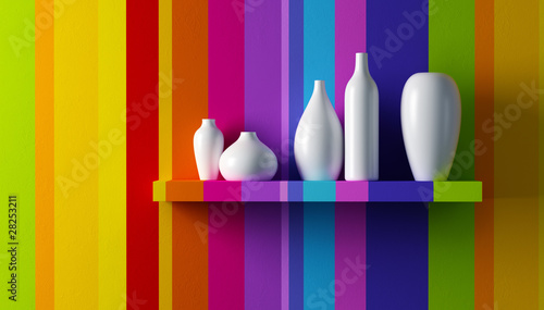 Fotografie, Tablou  white vases on the shelf