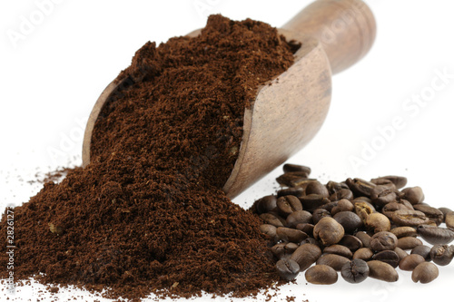 Poster Coffee beans café moulu et en grains