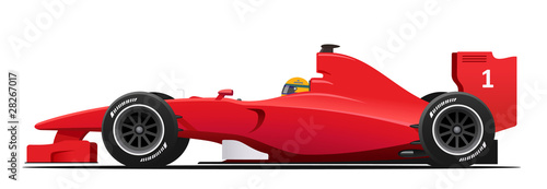 La pose en embrasure F1 Formula race red detailed car