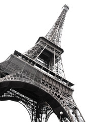 Panel Szklany Famous Eiffel Tower of Paris isolated on white