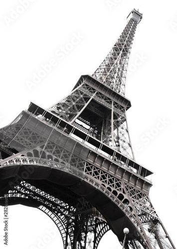 Foto op Canvas Eiffeltoren Famous Eiffel Tower of Paris isolated on white