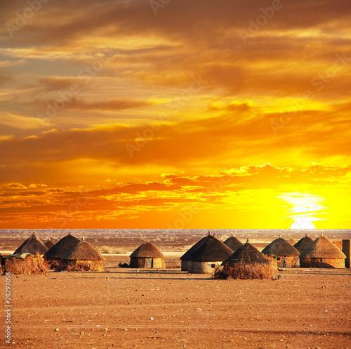 fototapeta na lodówkę African wieś