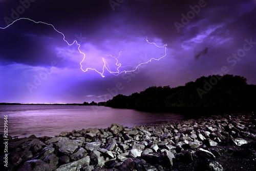 Foto op Aluminium Aubergine Lightning Strike