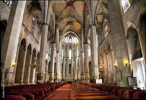 Fototapeta barcelona barcelona-gotycka-katedra-santa-maria-del-mar-wnetrze