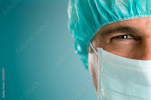 Stampa su Tela Absorbed surgeon closeup