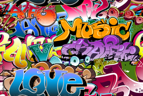 Foto auf AluDibond Graffiti Graffiti seamless background. Hip-hop art