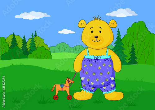 Poster Ours Teddy bear with toy horsy on glade