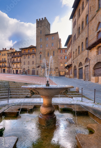 Fountain in the Piazza Grande, Arezzo, Italy Canvas Print