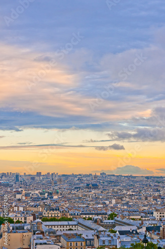 Canvas Prints Historical buildings Paris skyline from the Sacre Coeur at a summer sunset.