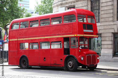 Fotografía Empty red double-decker on street in London, England.