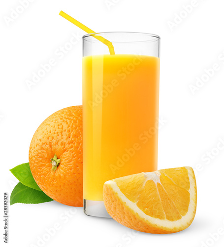 Foto op Plexiglas Sap Isolated fruit drink. Glass of fresh juice and orange slices isolated on white background