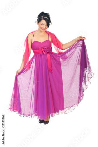 Garden Poster Beautiful woman in pink elegant dress