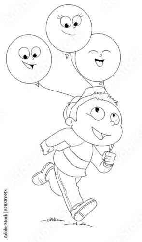 Illustrazione Da Colorare Di Bambino Che Corre Con Palloncini Buy