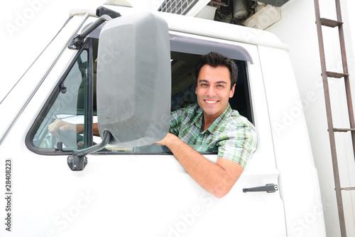 Obraz happy truck driver - fototapety do salonu