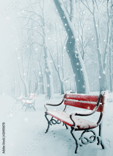 Fototapety, obrazy: Red bench in the snow