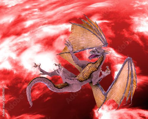 Poster Draken dragon red sky fall