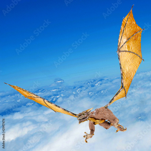 Poster Draken dragon snatching on the sky