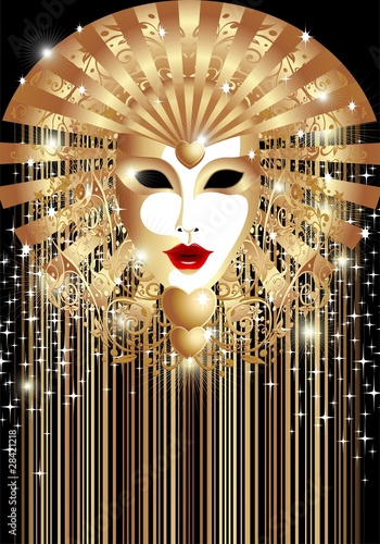 Maschera d'Oro Fondo-Golden Mask Background-Vector