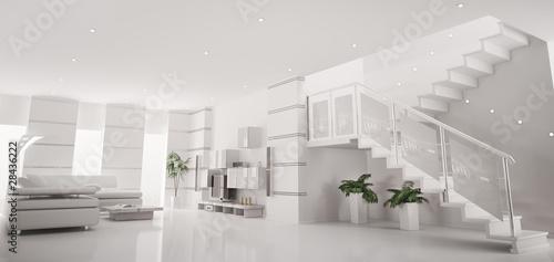 Weiss Modern Apartment Mit Treppe Interior Panorama 3d Render