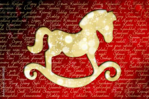 Frohe Weihnachten In Allen Sprachen.Frohe Weihnachten In Allen Sprachen Der Welt Schaukelpferd
