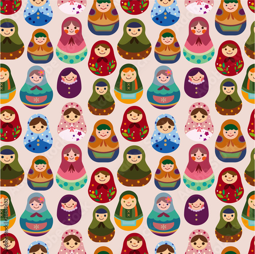 Photographie  seamless Russian doll pattern