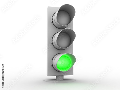 conceptual white traffic light with a green light Poster
