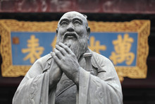 Statue Of Confucius At Temple In Shanghai, China