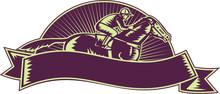 Horse And Jockey Racing Woodcut