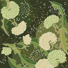 Background With White Dandelions Anf Forest Plants