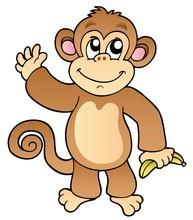 Cartoon Waving Monkey With Ban...
