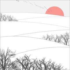 Panel Szklany Japoński winter sunset