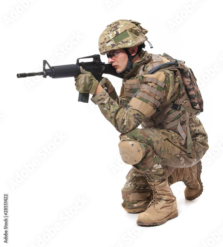 Poster Militaire Modern soldier with rifle