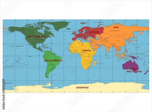 Poster Carte du monde Detailed World Map with Names of Continent and Countries, vector
