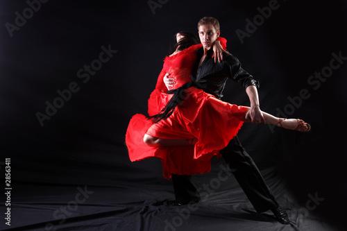 Küchenrückwand aus Glas mit Foto Tanzschule dancers in action against black background