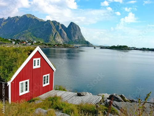 Garden Poster Scandinavia Red house in Lofoten