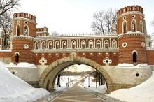Figured Bridge In Tsaritsyno , Moscow.