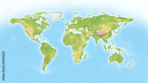 Türaufkleber Weltkarte World map with horizon